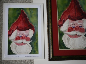 "Left: Santa limited edition size 10"" W x 16.1"" H print $__..  Smaller prints size 6.5"" W x 10.5"" H are also available, $__.  Right:  Santa original. Click photo to enlarge."