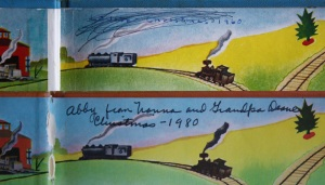 "The top inscription ""Louise - Christmas - 1960"" is in the copy of The Little Engine that Could that my parents gave to me.  It was the silver anniversary edition.  The bottom inscription is in the copy my parents gave to my daughter, Abby, in 1980.  Bill and I gave Jackson his own copy in 2006."
