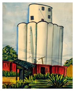 "Pocahontas Grain Elevator II  Prints are available in two sizes:  Small (Limited Edition, ~10"" W x ~12.3"" H, $25) and Large (~ 17.9"" W x 22"" H, $50)  Click photo to enlarge."