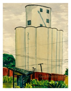"Pocahontas Grain Elevator I Limited Edition prints are available in the original painting size of 13.25"" W x 17.25"" H, $35.  Click on photo to enlarge."