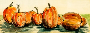 "Pumpkins prints are readily available in two sizes.  Medium LImited Edition prints are 6"" x 16.25"", $25.  The smallest Pumpkins prints are 4.5"" x 12.25"", $15."