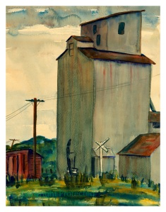 Rolfe grain elevator watercolor by Marion Gunderson, circa 1950.  Click photo to enlarge.