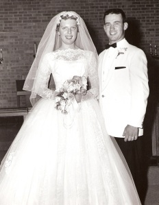 Ruth (Severson) and LeRoy Simonson on their wedding day, June 20, 1959.  (Click on photo to enlarge.  Posting permmission granted by Ruth Simonson.)