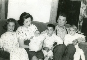 Mother (Marion) and Daddy (Deane) Gunderson with their first four children, (L to R) Clara, Martha (born October 1948), Charles and Helen.  The future Barr Art Association began meeting just months before this photograph was taken, while Mother was pregnant with Martha.  (Click photo to enlarge.)