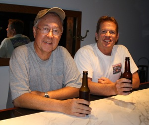 Jim Eaton and Bill having their first sampling of their self proclaimed Bear Spit.  Click photo to enlarge.