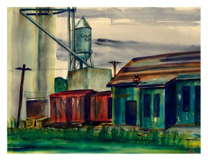 """Railway Station and Grain Elevator"" at Gilmore City, Iowa, painted in 1951. 17.25"" W x 13.25"" H limited edition prints are available, $35. For those who wish to display the watercolors of the Rolfe, Gilmore City, and Pocahontas I grain elevators in a grouping, we have chosen this standard size for all three. Also, if matted, a standard sized frame may be used instead of a custom frame."