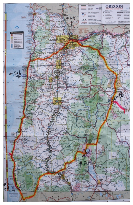 Our Oregon trip route, including side trips.  Click once and then again to enlarge photo.