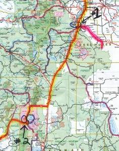 Day #2, July 18th, Bend, Oregon, to Crater Lake.  (Click photo to enlarge.)