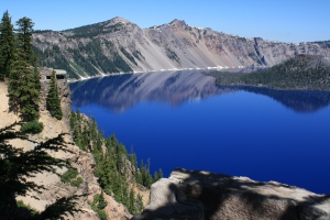 Crater Lake, including Wizard Island at the right.  (Click photo to enlarge.0