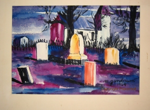 """Church Yard"" as it was cropped and matted by Mother (Marion Gunderson). (Click photo to enlarge.)"