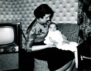 Mother (Marion Gunderson), me, and our television sometime between November 1955 and Feburary 1956. (Click photo to enlarge.)