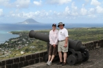 Bill and me with what we think is the island of Saba in the background to the west.