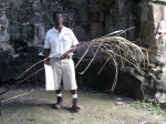 Our Greg's Safari guide, Edwin Burt, educated us about St. Kitts' sugarcane history. Here he is inside a sugar mill ruin. He said he cut this sugarcane about two weeks prior to our visit. Sugarcane is no longer a major crop on St. Kitts; it grows wildly on the island.