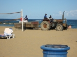 This Ford tractor made its way slowly across the beach at the St. Kitts Marriott.