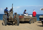 Ford tractor at the St. Kitts Marriott beach